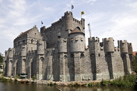 Old fortress in the ancient city of Ghent, Belgium