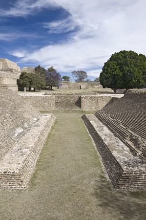 oaxaca: Ball court in the ancient city of Monte Alban, Mexico Stock Photo