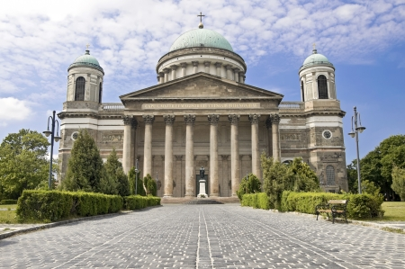 Main entrance to the Esztergom Basilica, Hungary