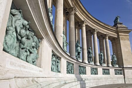 Detail of a colonnade on Heroes Square, Budapest
