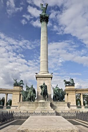 Monument on Heroes Square in Budapest, Hungary photo