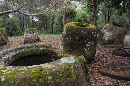 laos: Part of the Plain of Jars in Laos Stock Photo