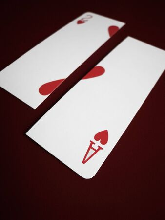 apart: Ace and Two of Hearts cards split apart