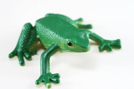 Green Plastic Frog with Shallow DOF 스톡 콘텐츠