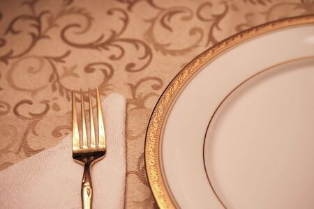 dinnertime: An elegant dining table setting with selective depth of field