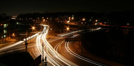 Night shot above a busy intersection in Newton, MA Stock Photo