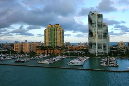 Buildings, boats and water in Miami, FL Stock Photo
