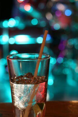 A drink on the bar at a nightclub