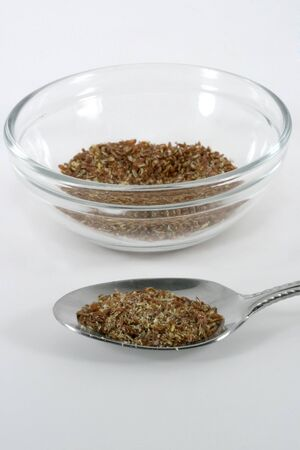 A spoonfull of healthy flax meal photo