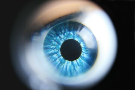 distort: An extreme magnification of a blue plastic eyeball