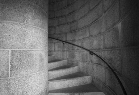 Entrance to a winding concrete staircase