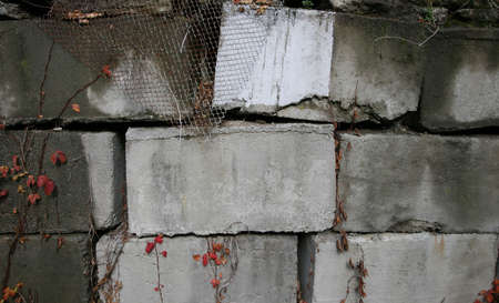 in disrepair: Un muro di cemento grigio in rovina Archivio Fotografico