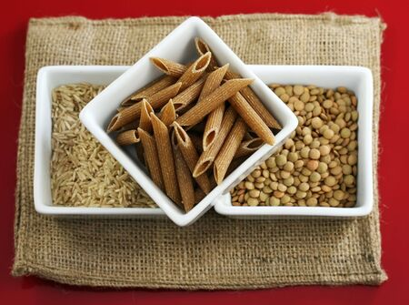 Whole grains, rice and beans for healthy cooking Stock Photo