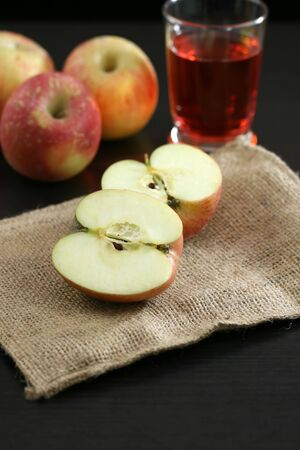 snack time: Organic apples and juice ready for snack time Stock Photo
