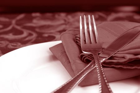 An elegant table setting in a moody duotone