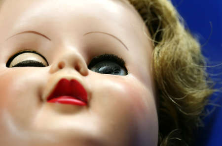 Close up abstract shot of a dolls face