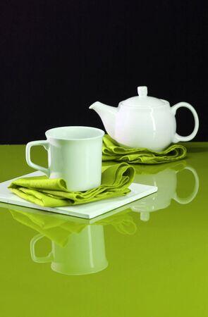 A modern home decor shot of a table set for tea Stock Photo