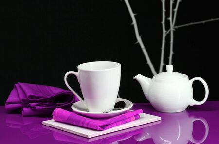Modern home decor with table, coffee and tea