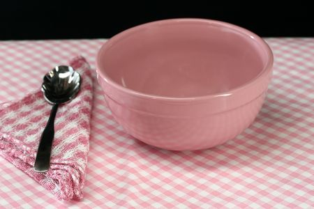 A picnic table set for lunch in pink  Stock Photo - 2428187