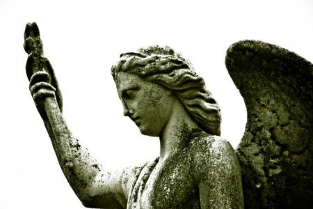 deteriorating: A profile of an angel carved in stone