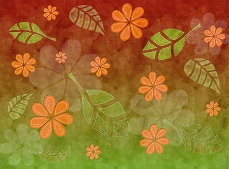 no lines: A patterned nature background with leaves and flowers in autumn colors Stock Photo