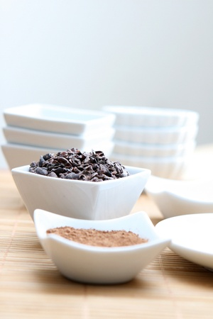 Detail photo of raw cacao nibs and powder  photo