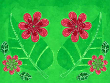 花と葉の自然図 写真素材