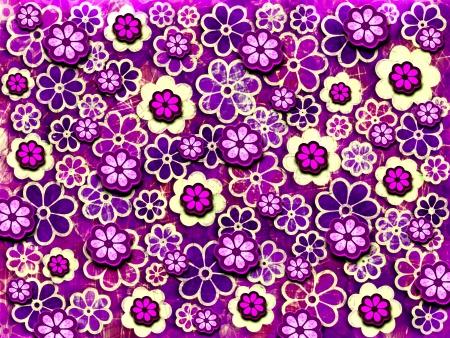 années 60 psychédéliques répéter motif de fleur conception graphique fond Banque d'images - 23040855