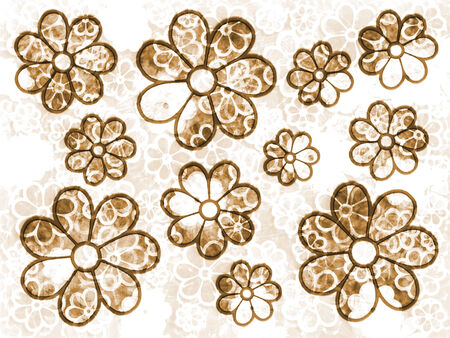 Brown faded flower pattern graphic design bacground element  Stock Photo