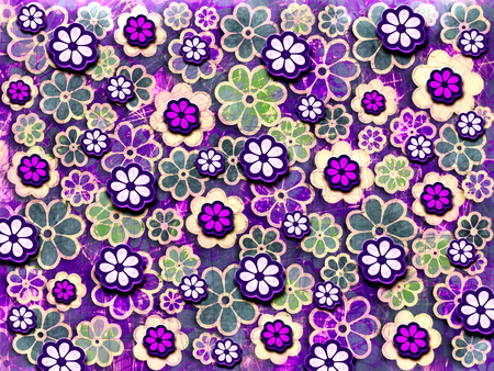 Purple repeating flower pattern graphic design element