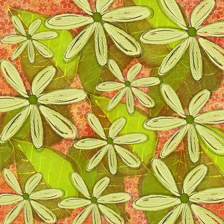 a vibrant graphic leaf and floral pattern design