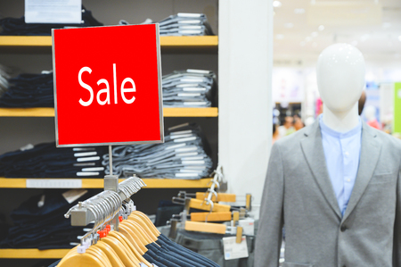Sale mock up advertise display at clothes line. Stock Photo