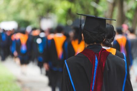 Back side view student graduation of graduates during commencement. Congratulation in University concept, Education concept.