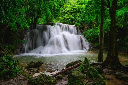Huay Mae Khamin waterfalls in deep forest at Srinakarin National Park ,Kanchanaburi,Thailand