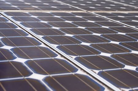 Special solar cells that have To change energy from sunlight Into electrical energy Clean energy That is environmentally friendly Stock Photo