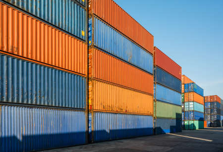 Stacking of Container cargo harbor. Business Logistics import export shipping concept.