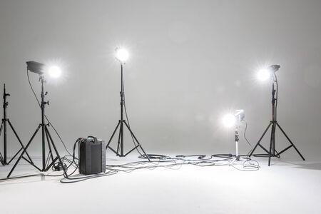 photo studio: photo studio with lighting equipment fashion set as background Stock Photo