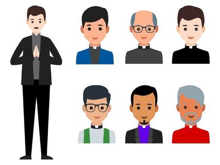 Ilustración de vector de clérigos católicos de diversas culturas en fondo blanco