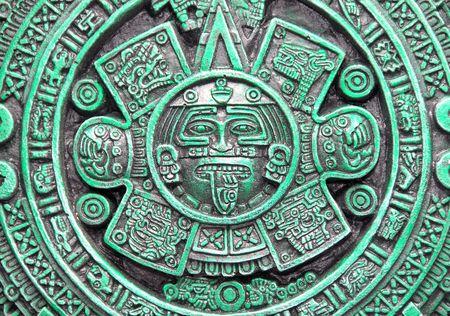 Aztec calendar on green ceramic