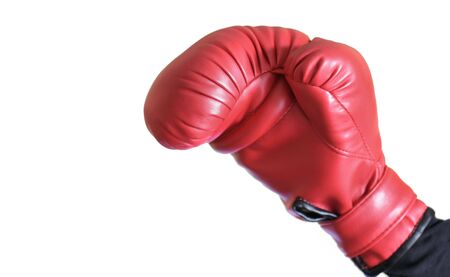 pugilist: Boxer in a winning pose with his glove raised in the air Stock Photo