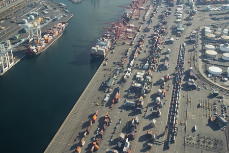 Aerial View of Harbor Island and the Port of Seattle 新聞圖片