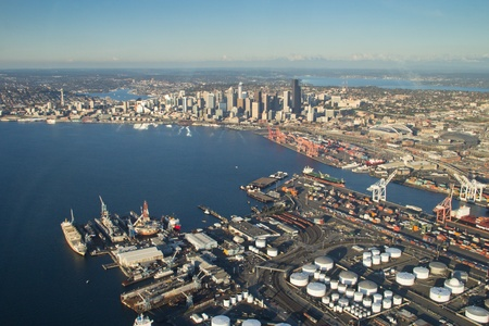 Seattle, Elliott Bay and the Port from above West Seattle Editorial