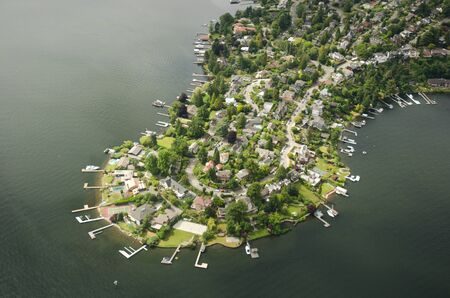 Aerial perspective of Webster Point, WA