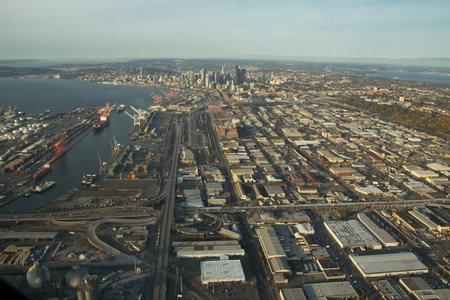 SoDo and Seattle in the distance aerial view