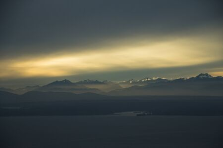 olympic: Sunset over Moutains - Aerial Editorial