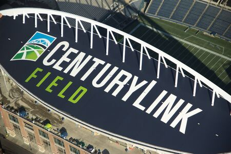 Aerial View of the new logo on Century Link Field (formerly Qwest Field). 新聞圖片