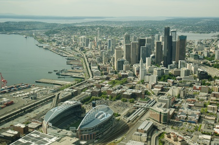 Football stadium and downtown Seattle viewed from the South in the air