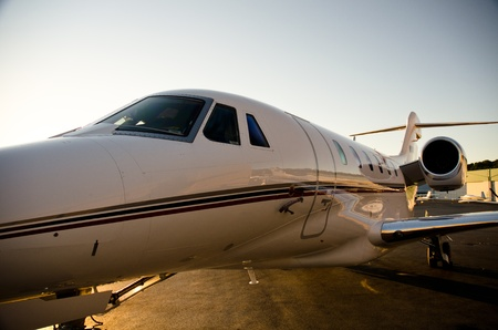 corporate jet: Citation X glows at sunset.
