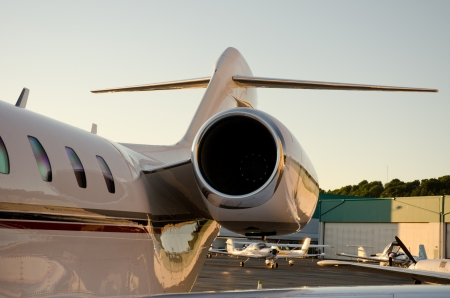 Corporate Jet tail view and left engine.