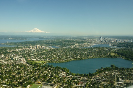 Green Lake in the foreground and Lake Union, Seattle and Mt. Rainier in the background.